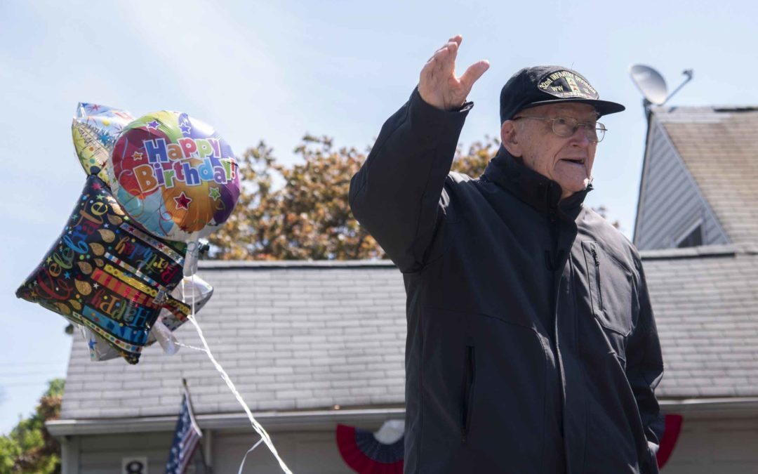 Community celebrates WWII vet from Levittown with drive-by salute